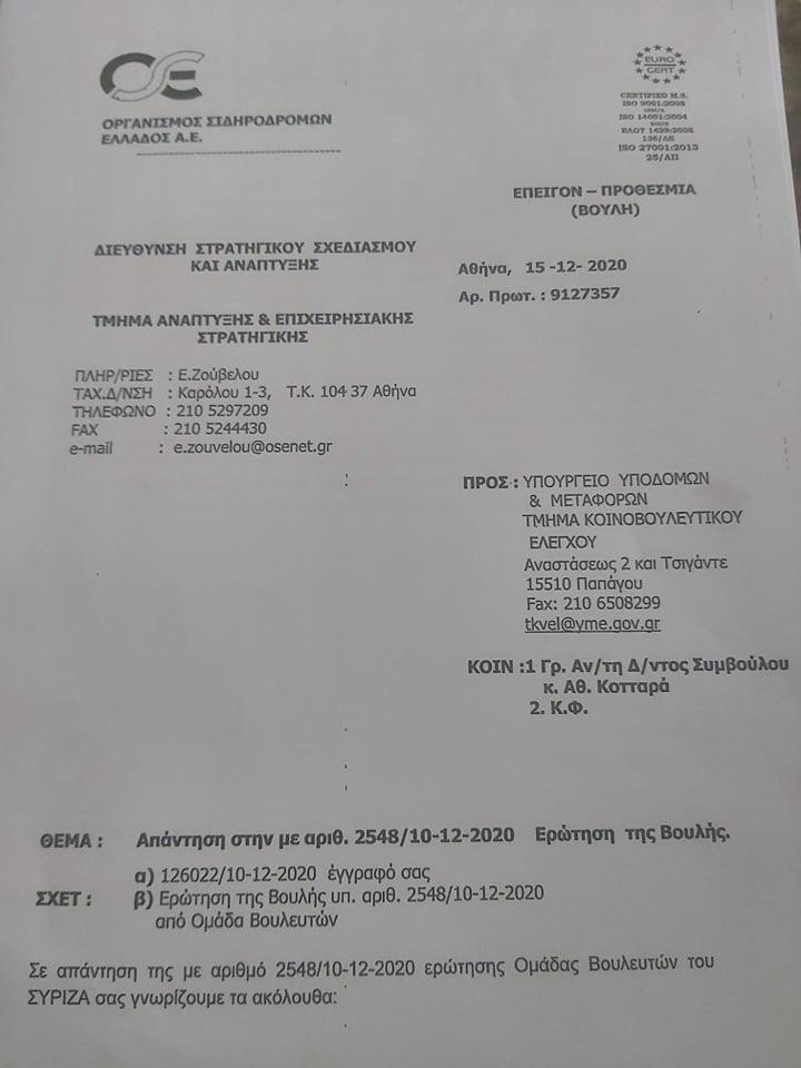 Ολυμπία Τελιγιορίδου: «Ο Υπουργός Υποδομών, ο ΟΣΕ και η ΕΡΓΟΣΕ με δικαιώνουν για την σιδηροδρομική γραμμή, με έγγραφα τους Βουλή»